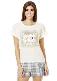 Clothing at Tesco   F&F Cat Nap Slogan Lounge T-Shirt > nightwear > Women's nightwear > Women