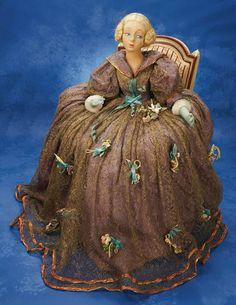 Early and Rare Italian Felt Salon Lady by Lenci in Chair 1800/2800