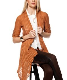 Look at this Brick Ruffle Open Cardigan on #zulily today!