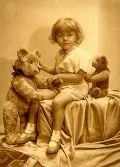 1932 photo of a child and her Teddy Bears.