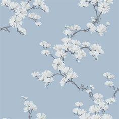 Black, Baby Blue & White Chinoiserie Garden Tree Wallpaper