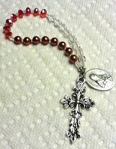 18-Inch Rhodium Plated Necklace with 6mm Light Sapphire Birthstone Beads and Sterling Silver Saint John XXIII Charm.