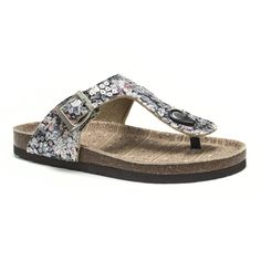 6bf45d62f042 Floral Pattern T-strap slide sandal with buckle. This will be your go-to  casual but stylish slip-on sandal this summer! Muk Luks®