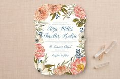 Garden Rose Wedding Invitations by Annie Mertlich at minted.com