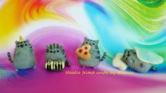 Needle felted Pusheen eat sleep music & party by FunFeltByWinnie, $22.00