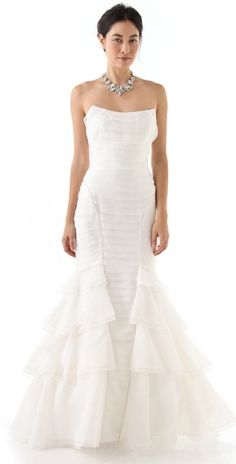Theia mermaid gown in crisp organza + 30% off. Also am loving it paired with the chunky necklace.