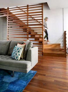 George Residence Interior Custom Walnut Stair and Slide Hybrid in Chicago