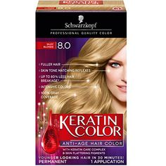 Schwarzkopf Keratin Color Anti-Age Hair Color Kit, 8.0 Silky Blonde (Pack of 2) ** Click image to review more details. (This is an affiliate link and I receive a commission for the sales)