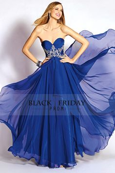 2016 Trimmed Dark Royal Blue Sweetheart A Line Floor Length Prom Dress Chiffon…