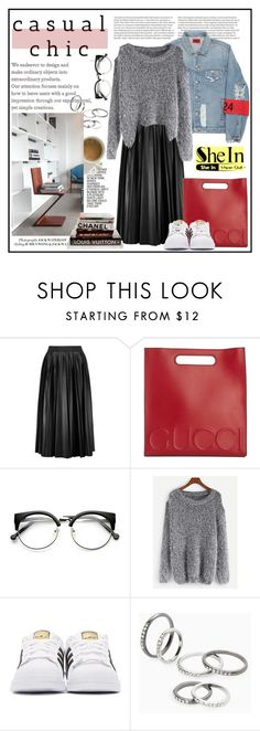 """SheIn - Dropshoulder"" by stylemeup-649 ❤ liked on Polyvore featuring Lanvin, Gucci, WithChic, adidas Originals and MANGO"