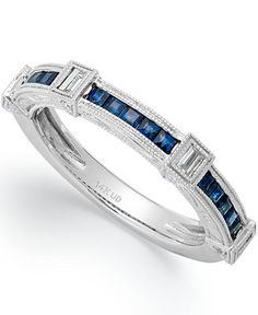 14k White Gold Sapphire (3/8 ct. t.w.) and Diamond (1/5 ct. t.w.) Ring - Rings - Jewelry & Watches - Macy's