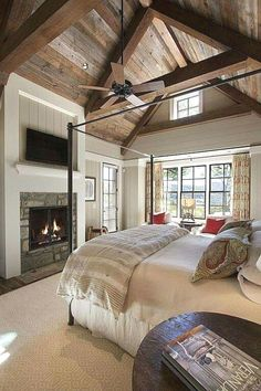 Rustic Farmhouse Bedroom Ideas For A Rustic Country Home more search: farmhouse bedroom decorating ifarmhouse decorating ideas bedroom, deas, farmhouse master bedroom ideas, farmhouse style bedroom ideas, modern farmhouse bedroom ideas. Country Master Bedroom, Farm Bedroom, Modern Farmhouse Bedroom, Home Decor Bedroom, Modern Bedroom, Bedroom Ideas, Farmhouse Style, Rustic Farmhouse, Bedroom Designs