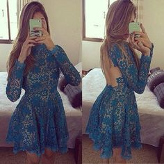 Blue Flowers Draped Blackless Round Neck Long Sleeve Lace Dress