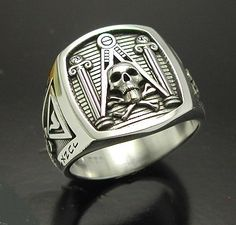 Masonic Skull and Pillar Sterling Silver 925 by ProLineDesigns, $185.00
