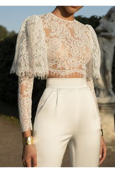 Casual Sexy Hollow Out Perspective Short Style Lace T Shirt - moda Look Fashion, High Fashion, Womens Fashion, Fashion Design, Fashion Trends, Fashion Art, Trendy Fashion, Fashion Ideas, Classy Fashion