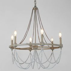 Elegant Rustic Drape Chandelier - 6 Light - Shades of Light