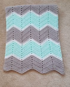 Gender Neutral Light Gray and Mint Green Chevron Baby Blanket by SnuggleBuggleCrochet on Etsy https://www.etsy.com/listing/278470252/gender-neutral-light-gray-and-mint-green