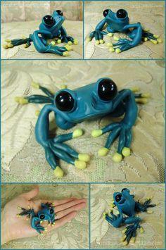 Custom Teal Frog Sculpture by LiHy on DeviantArt