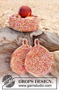 "Crochet DROPS basket and pot holders in ""Safran"". ~ DROPS Design"