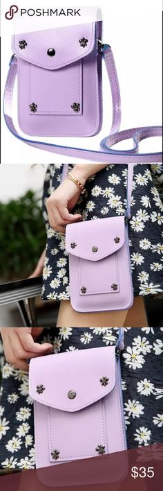 ✨🎀HP🎀💃🏻4/19 Lavender cross body bag Stylish and Chic cross body bag in vegan leather. New in package Bags Crossbody Bags