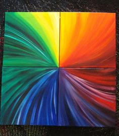 "Rainbow Paintings  - Set of 4 - 12"" x 12"" Square Canvas - Original Abstract Oil - ""Pinwheel Rainbow"""