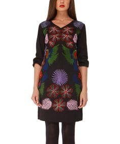 Another great find on #zulily! Black Floral Eleven Florida Dress by Almatrichi #zulilyfinds