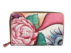 Diese handbemalte leder Damen-Brieftasche hat 1 Scheinfach 1 Ausweisfach 5 offene Fächer 1 Münzgeldfach mit Reissverschluss - € 99,99