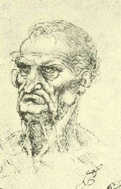 dessins Léonard de Vinci - Dessins Leonard de Vinci - tete d homme age…