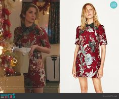 0ff1a248fe9b Alexis s red floral mini dress with embellished patches on Schitt s Creek