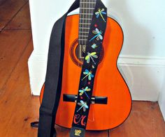 Custom Hand Embroidered Guitar Strap  Dragonflies and by Meoneil