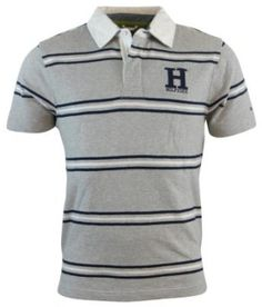 Polo Tommy Hilfiger Men's Classic Fit Striped Logo Rugby Shirt Gray #Tommy Hilfiger#Polo