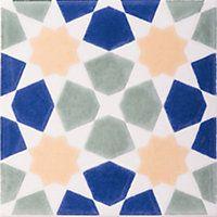 V&A Omar Glazed Ceramic Décor Wall Tile Multicolour Gloss 152 x 152mm