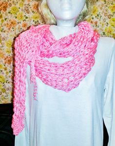 Summer Lilly Shawl    Hot Pink lace knit by nouveauvintageltd