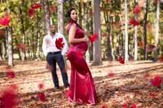 Professional Photographer, Photoshoot Session, Maternity Session, Couple, Roosevelt County Park, New Jersey, Autumn, Outdoor Session Ideas, Red Gown, Candid Moments, Falling Leaves, Photoshop, Peridot Imagery