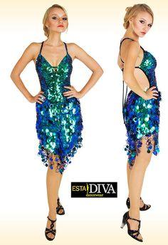 399c9324 Sequin Dress - Cornetta Verda, Jumbo Sequin Dress, Latin Dance Dress, Dance  Dress, Dancewear, Salsa Dress, Paillettenkleid, Robe de danse