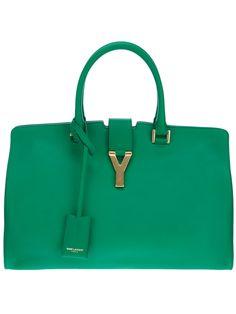 Green Saint Laurent Cabas Y Tote Green Handbag, Green Bag, Ysl Bag, Designer Totes, Small Handbags, Small Leather Goods, Womens Purses, Party Bags, Purse Wallet