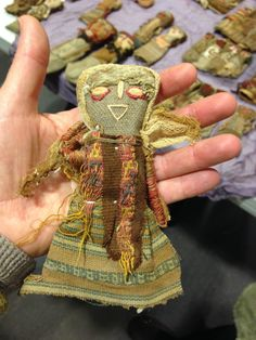 Peruvian burial doll made with ancient textiles, some more than 2000 years old