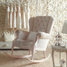 Notte Rocker Antique White with White Velvet and Nursery Necessities in Interior Design Guide - Modern Baby Furniture Sets, Furniture Layout, Kids Furniture, Office Furniture, Nursery Rocker, Rocking Chair Nursery, Antique Nursery, Upholstered Rocking Chairs, Swivel Chair