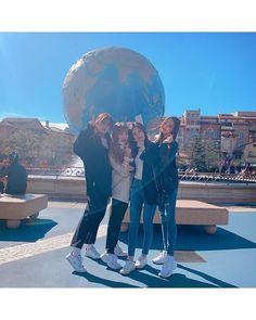 Image may contain: 4 people, people standing, sky and outdoor Kpop Girl Groups, Kpop Girls, Bff, Korean Friends, Honda, Dancing Baby, Yu Jin, Japanese Girl Group, Pop Idol