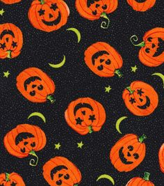 Holiday Inspirations Fabric- Halloween Tossed Pumpkins Glitter