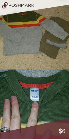 Old navy ribbed shirt 4 t 4t ribbed shirt.. super cute.. my son worn them with the cargo pants i have listed.. and high tops.  Great condition  Colors grey,yellow, orange and green Old Navy Shirts & Tops Tees - Long Sleeve