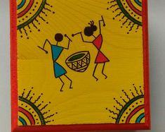 Warli Art Warli prints indian folk art prints home decor Small Canvas Art, Mini Canvas Art, Worli Painting, Fabric Painting, Buddha Painting, Madhubani Art, Madhubani Painting, Pottery Painting Designs, Paint Designs