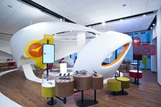 Shop with its design intentionally builds on previously realized interiors that we have created for this company. In this interior we repeated attempt to create a non-traditional space, which should determine the future direction that Vodafone will take in shop design.