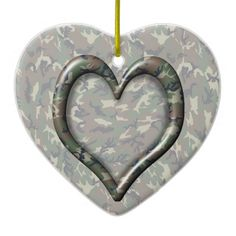 Camouflage Woodland Forest Heart on Camo Ceramic Ornament #camouflage4you #Gravityx9 -