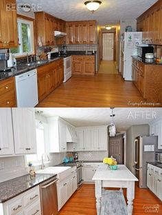 No way that is the same kitchen! From dated and dark to modern and bright on a surprising budget.