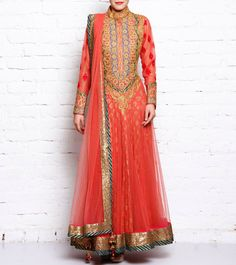 #Orange Cotton Silk & Net #Anarkali #Suit by #Rimple & #Harpreet #Narula at #Indianroots
