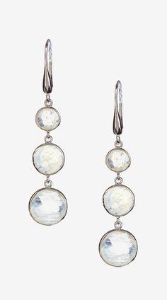 Sterling Silver Triple Rainbow Moonstone Dangle Earrings