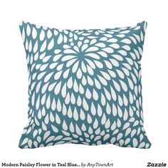 Modern Paisley Flower in Teal Blue and White Throw Pillow