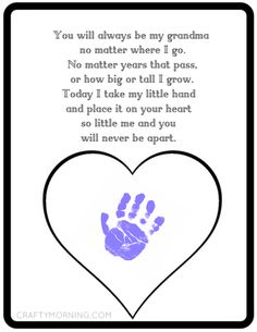 Printable Mother's Day gift idea for grandma - kids handprint. Best Picture For Mothers Day Crafts Grandma Crafts, Grandparents Day Crafts, Mothers Day Crafts For Kids, Fathers Day Crafts, Grandparent Gifts, Grandmas Mothers Day Gifts, Mothers Day Poems, Mothers Day Cards, Mother Day Gifts