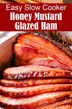 What a great way to keep your oven free for the big day. This Slow Cooker Honey Mustard Glazed Ham is easy to make and perfect for entertaining. This ultimate Holiday Slow Cooked Ham is deliciously… Cooking Ham In Crockpot, Slow Cooker Ham Recipes, Ham In Slow Cooker, Oven Ham Recipes, Honey Mustard Ham Glaze, Honey Glazed Ham, Honey Glaze For Ham, Easy Ham Glaze, Honey Roast Ham